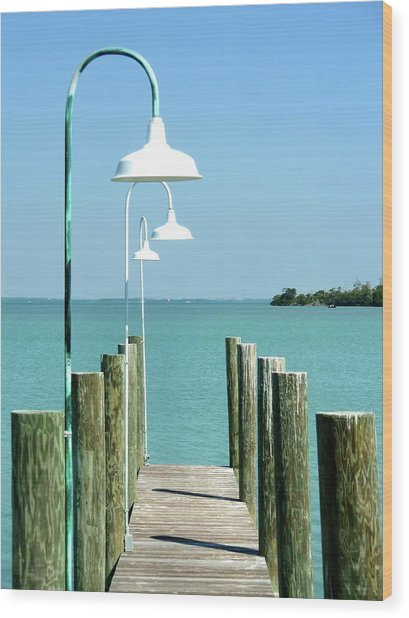 Captiva Island Pier Two Wood Print by Richard Mansfield