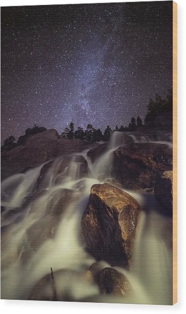 Capturing A Starry Night Waterfall In Wood Print by Mike Berenson / Colorado Captures