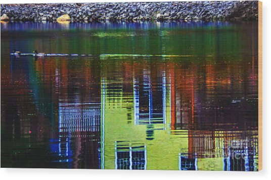 New England Landscape Illusion Wood Print