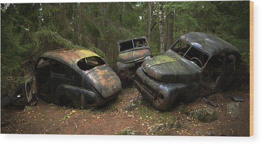 Car Cemetery In The Woods. Wood Print