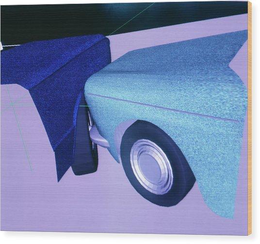 Car Crash Reconstruction Wood Print by Mauro Fermariello/science Photo Library