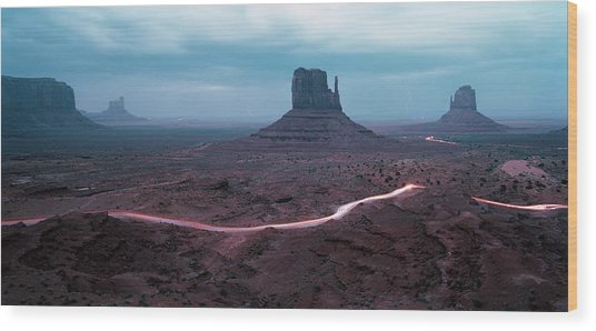 Car Trails By Mittens In Monument Valley Wood Print