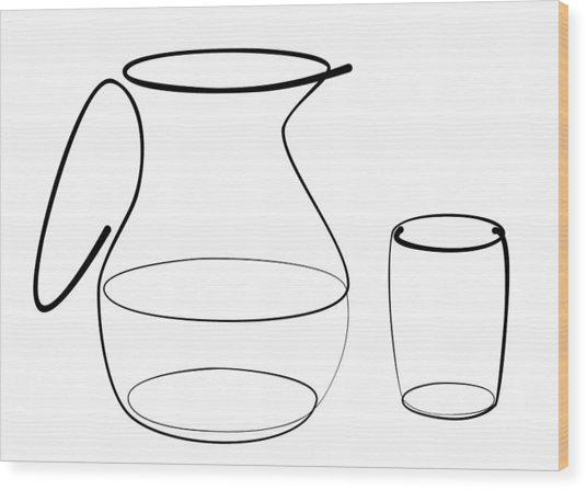 Carafe Glass Line Wood Print