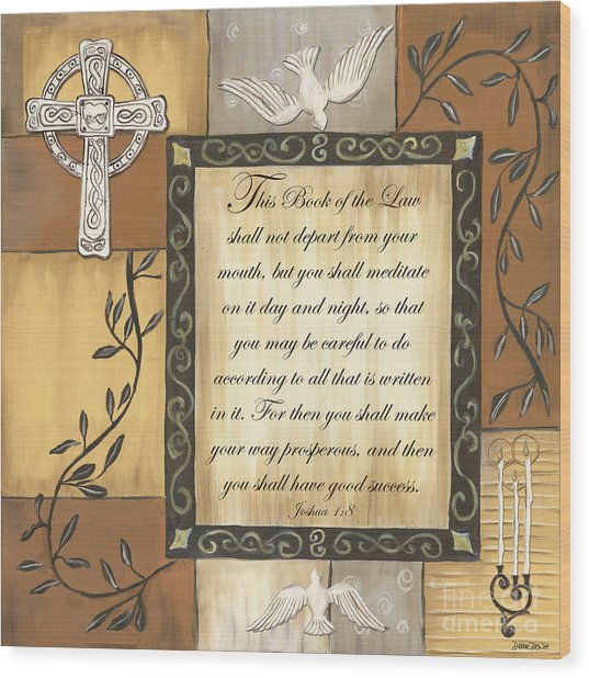 Caramel Scripture Wood Print