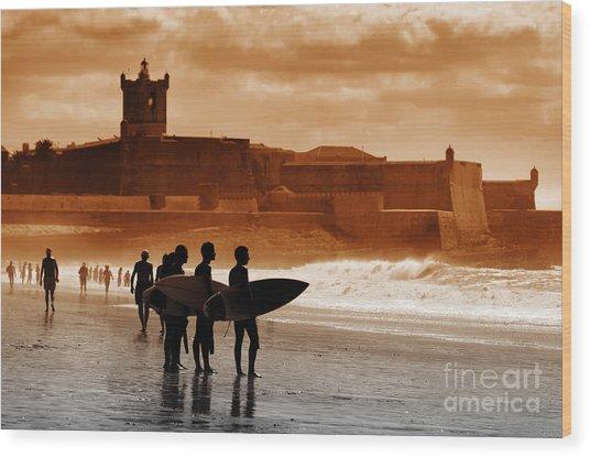 Carcavelos Surfers Wood Print