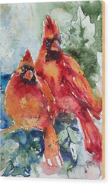 Cardinal Birds Wood Print