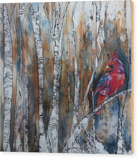 Cardinal In Birch Tree Forest Wood Print