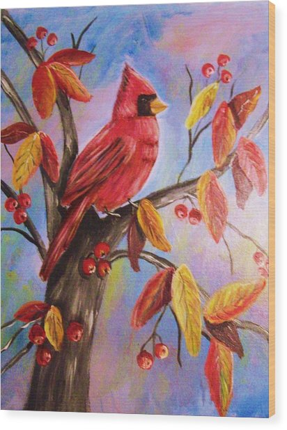 Cardinal In Fall Wood Print