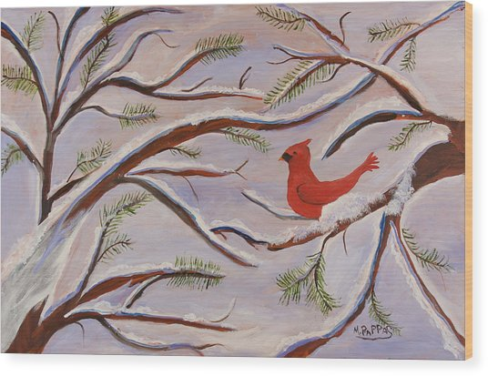 Cardinal Wood Print by Margaret Pappas
