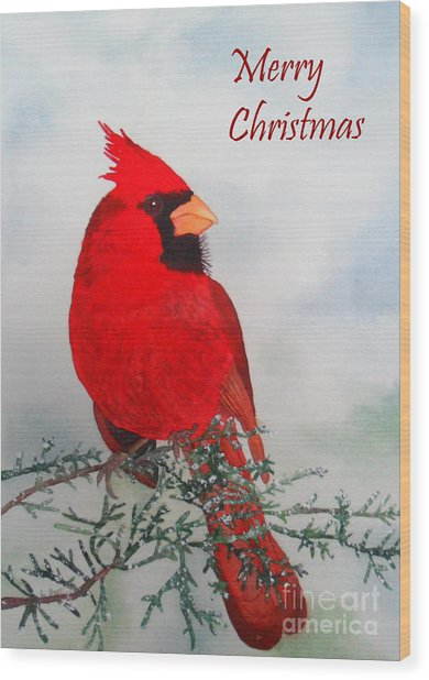 Cardinal Merry Christmas Wood Print