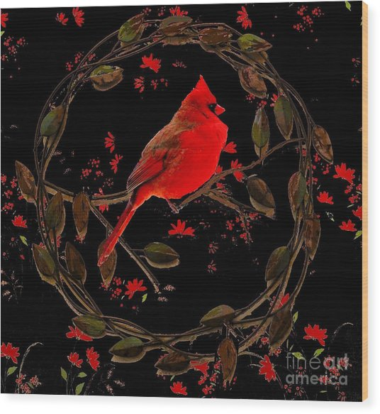 Cardinal On Metal Wreath Wood Print