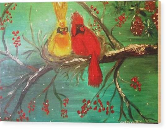 Cardinals Winter Scene Wood Print