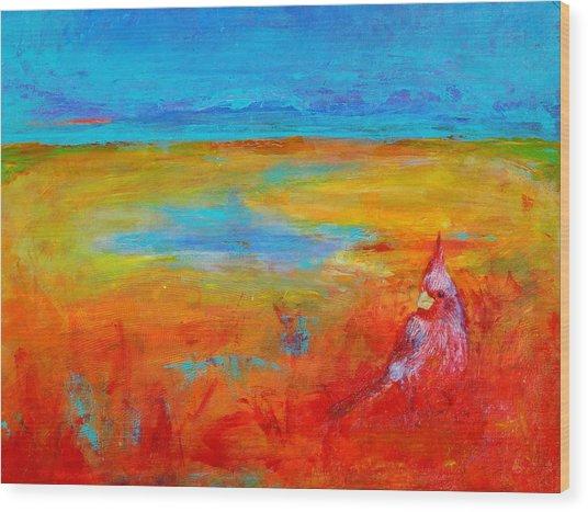 Cardinal Wood Print by Valerie Lynch