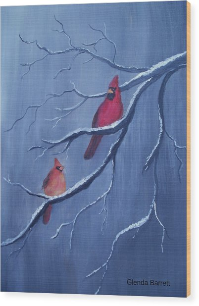 Cardinals Wood Print by Glenda Barrett