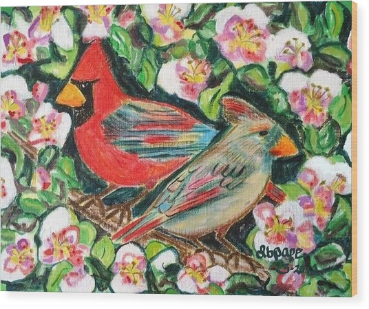 Cardinals In An Apple Tree Wood Print