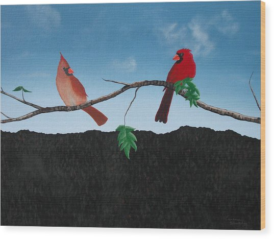 Cardinals No. 2 Wood Print by Candace Shockley
