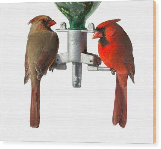 Cardinals On White Wood Print by John Kunze