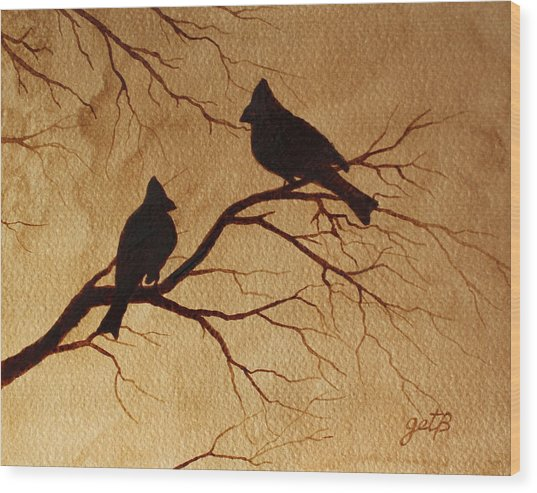 Cardinals Silhouettes Coffee Painting Wood Print