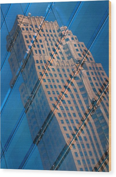 Carew Tower Reflection Wood Print