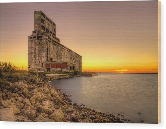 Cargill Pool Elevator Twilight Wood Print
