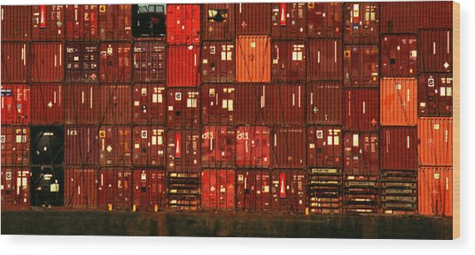 Cargo Containers Port Of Seattle Wood Print