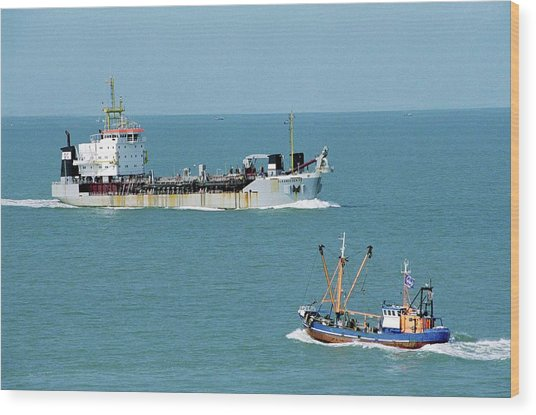Cargo Ship And Fishing Boat Wood Print by Christophe Vander Eecken/reporters/science Photo Library
