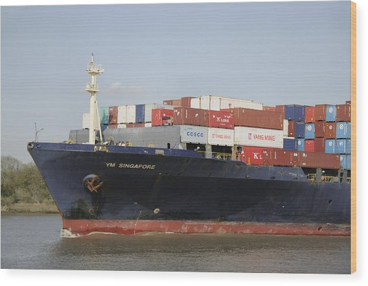 Cargo Ship On The River Wood Print by Bradford Martin
