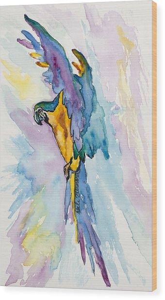 Caribbean Blue Macaw Wood Print
