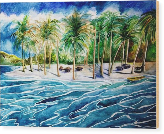 Caribbean Harbor Wood Print