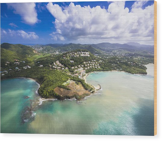 Caribbean, St. Lucia, Choc Bay, Aerial Photo Of Calabash Cove Resort Wood Print by Westend61