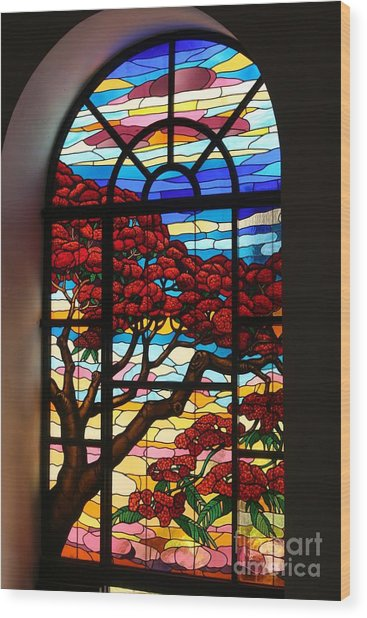 Caribbean Stained Glass  Wood Print