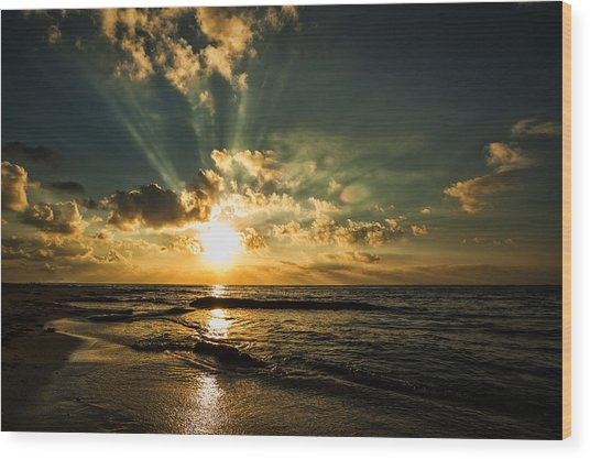 Caribbean Sunrise Wood Print by Stuart Deacon