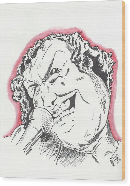 Caricature Joe Cocker Wood Print