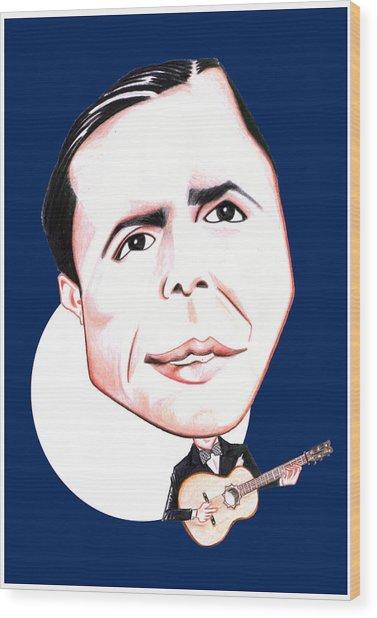 Carlos Gardel Illustration Wood Print by Diego Abelenda