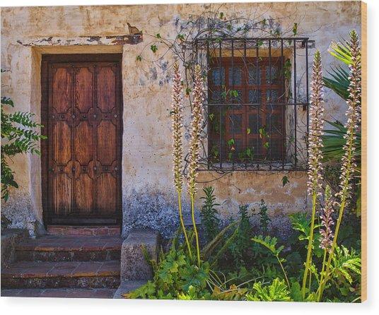 Carmel Mission Living Quarters Wood Print