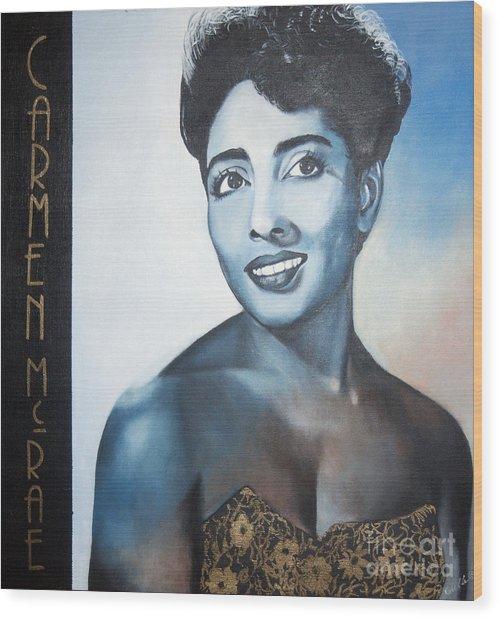 Carmen Mcrae Wood Print