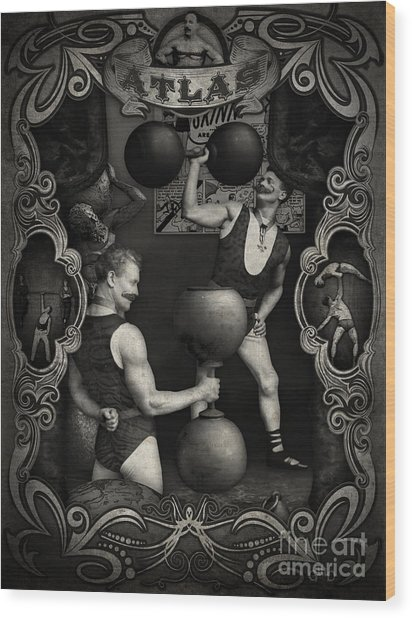 Carnival Banner - Atlas The Strong Man Wood Print