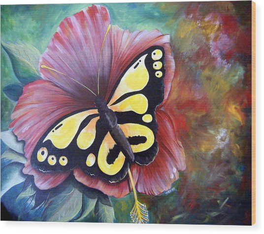Carnival Butterfly Wood Print
