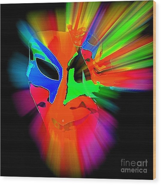 Carnival Mask In Abstract Wood Print