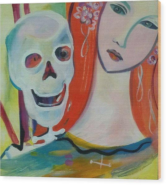 Carnival Of Bones Wood Print by Marlene LAbbe