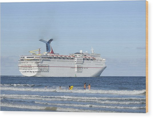 Carnival Sensation Leaving Florida Wood Print