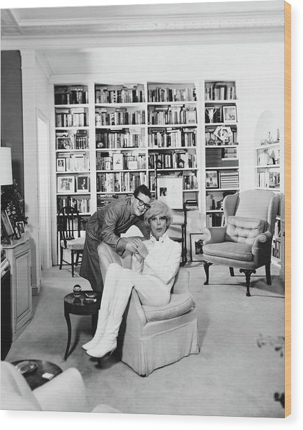 Carol Channing With Her Son Channing Lowe Wood Print