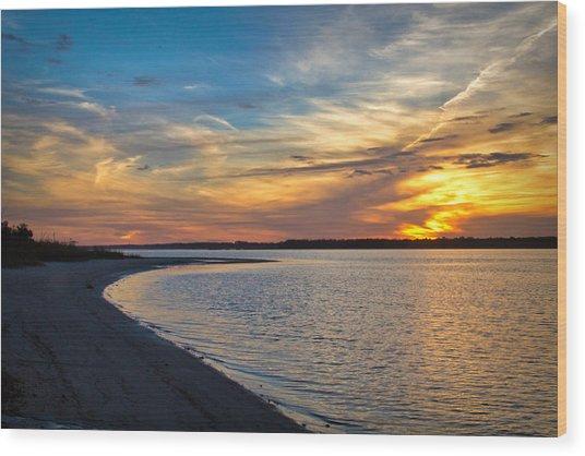 Carolina Beach River Sunset II Wood Print