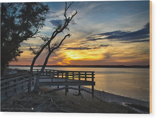 Carolina Beach River Sunset Wood Print