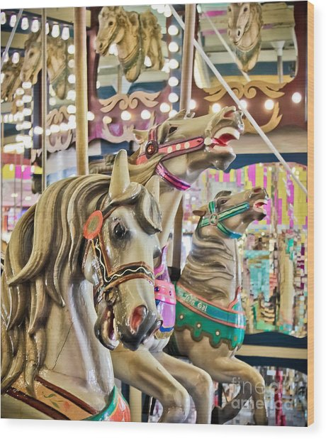 Carousel At Casino Pier Wood Print
