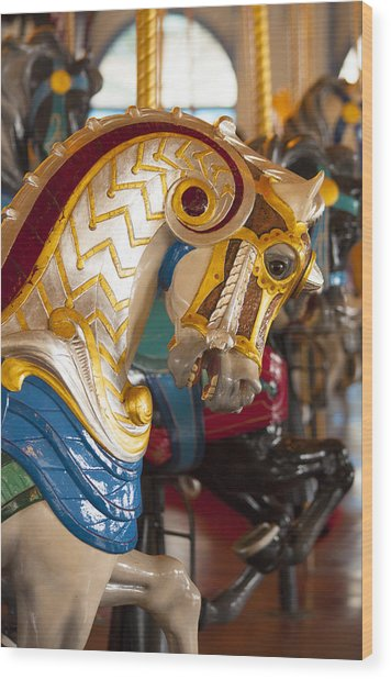 Colorful Carousel Merry-go-round Horse Wood Print