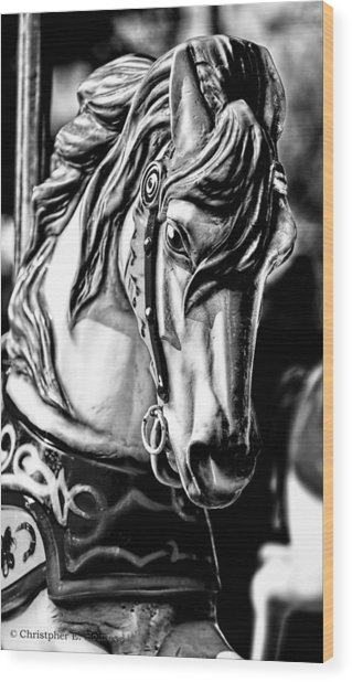 Carousel Horse Two - Bw Wood Print