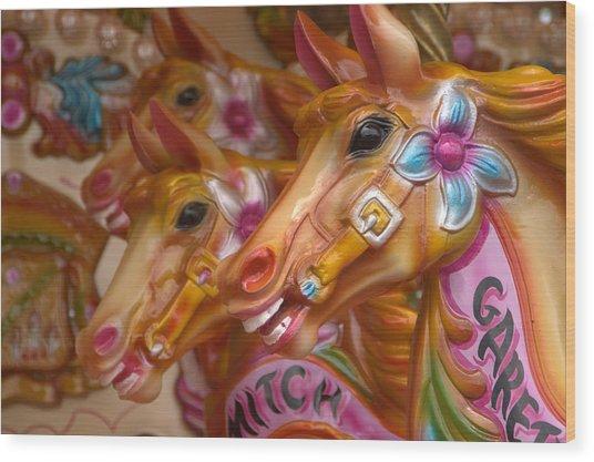 Carousel Horses Wood Print