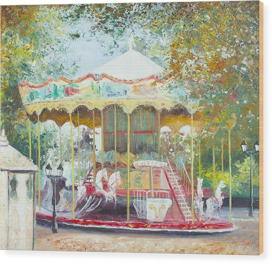 Carousel In Montmartre Paris Wood Print