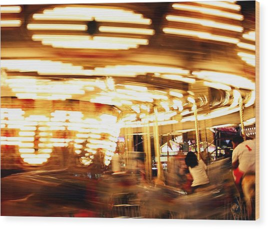 Carousel In Motion Wood Print